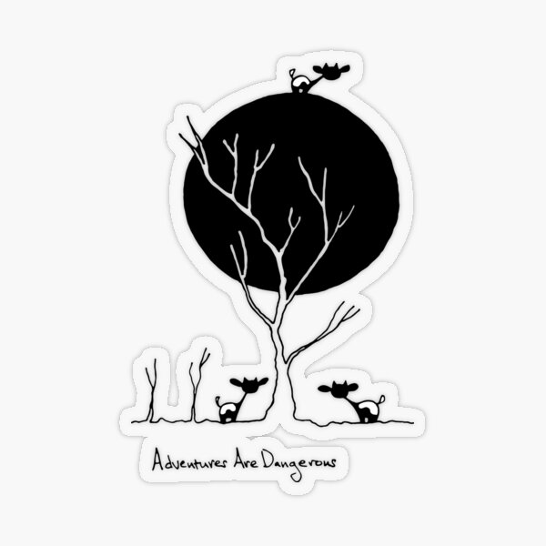 Cows with Moon and Trees Transparent Sticker