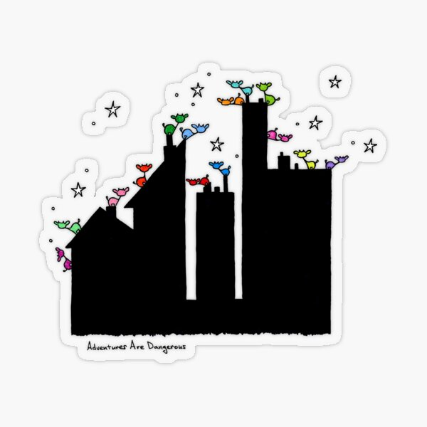 Rainbow of Cows on Rooftops Transparent Sticker