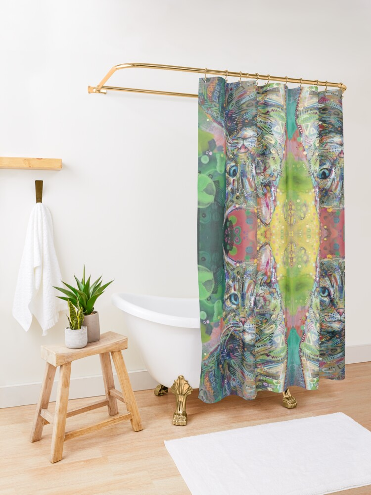 Alternate view of Cat painting - 2011 Shower Curtain
