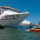 Cruise ship at Circular Quay, Sydney Harbour by Erik Schlogl