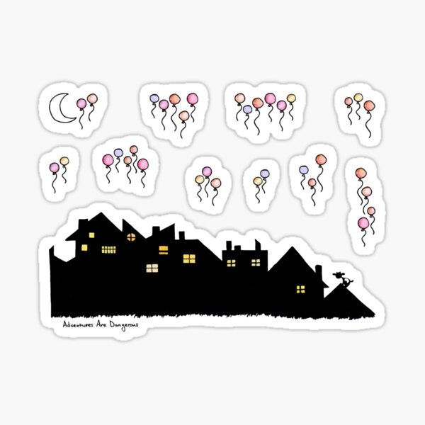 Cityscape and Balloons Sticker Pack Glossy Sticker