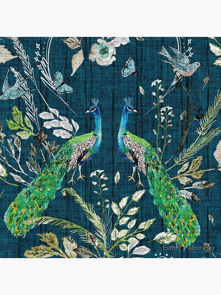 Peacock Chinoiserie (teal)  by nouveaubohemian