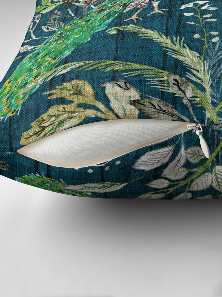 Alternate view of Peacock Chinoiserie (teal)  Throw Pillow