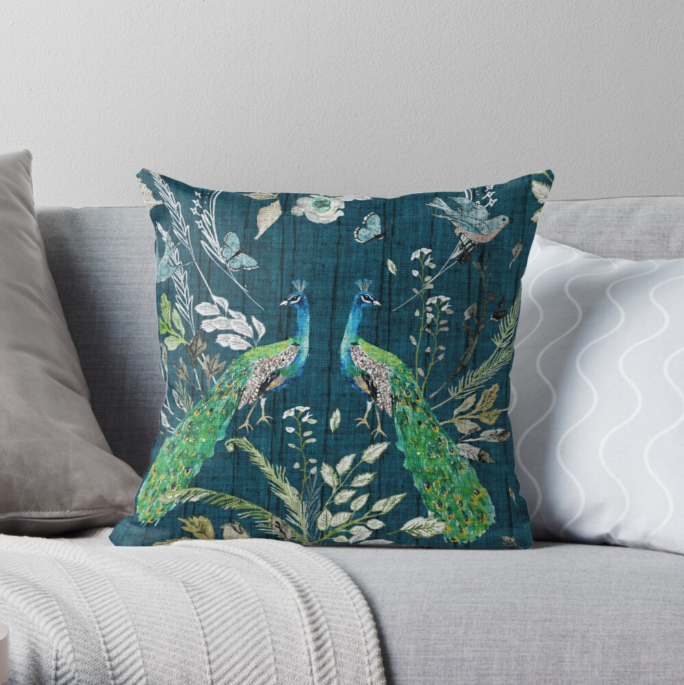 Peacock Chinoiserie (teal)  Throw Pillow