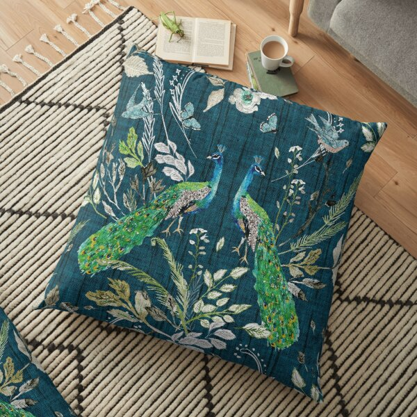 Peacock Chinoiserie (teal)  Floor Pillow