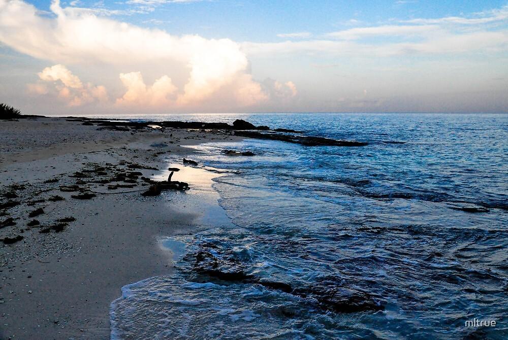 Beach scene at sunset El Cozumeleno by mltrue