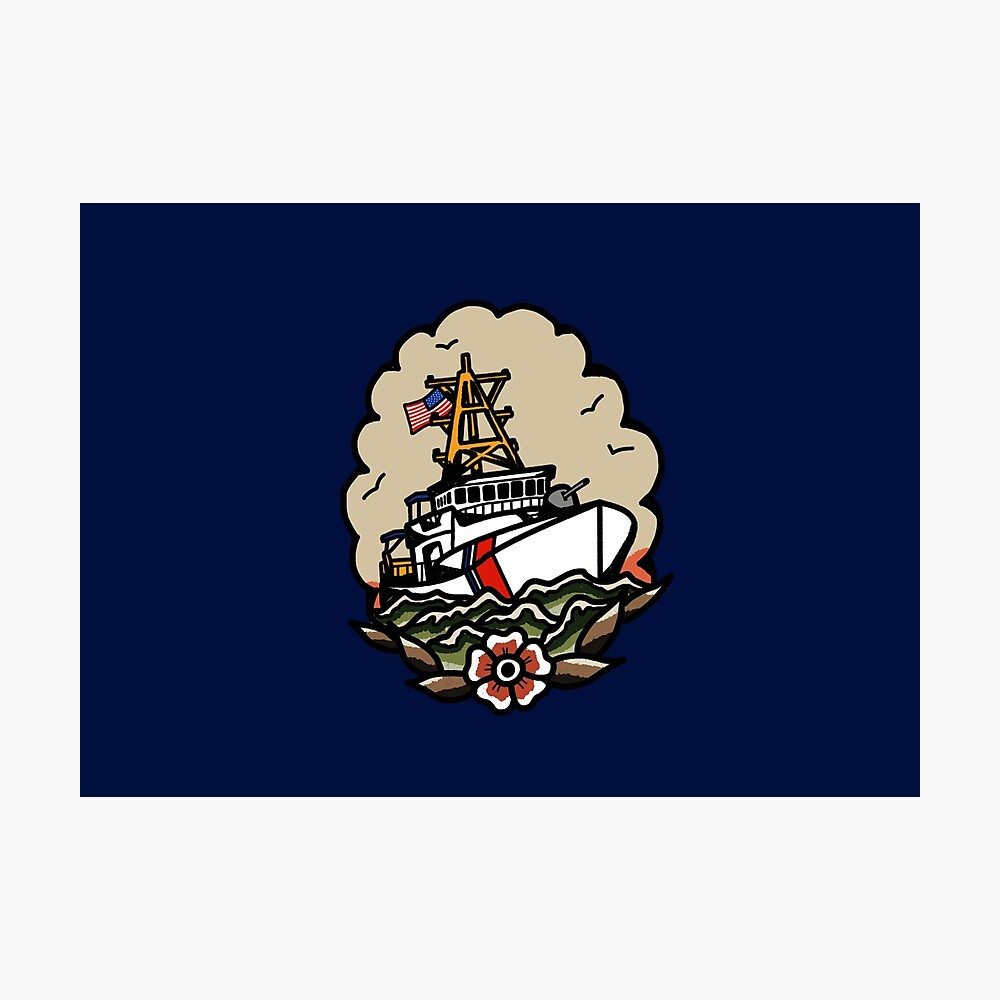Underway Coast Guard Fast Response Cutter Traditional Tattoo Flash Photographic Print