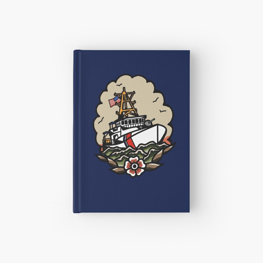 Underway Coast Guard Fast Response Cutter Traditional Tattoo Flash Hardcover Journal