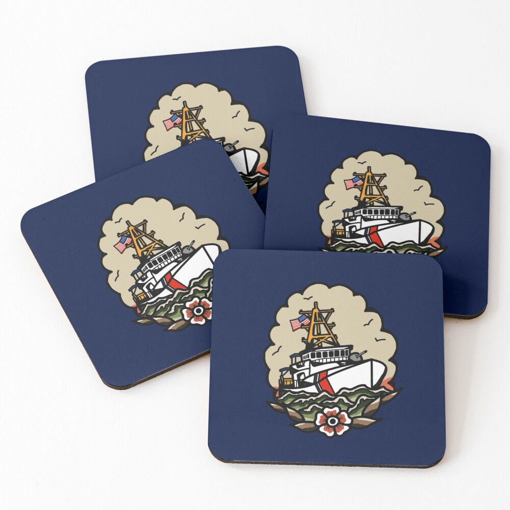 Underway Coast Guard Fast Response Cutter Traditional Tattoo Flash Coasters (Set of 4)