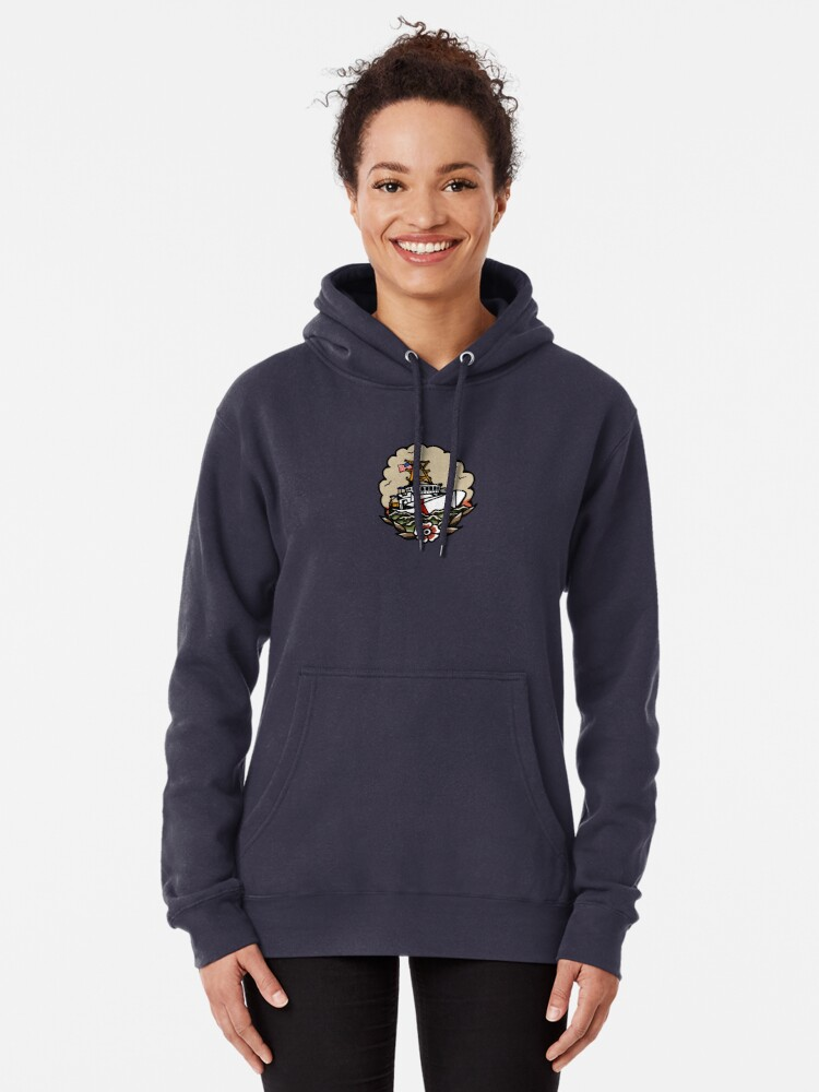 Alternate view of Underway Coast Guard Fast Response Cutter Traditional Tattoo Flash Pullover Hoodie