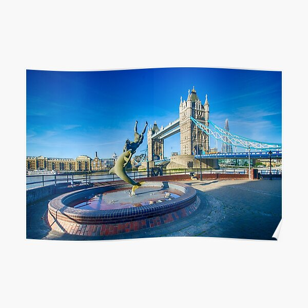 Girl with a Dolphin at Tower Bridge Poster