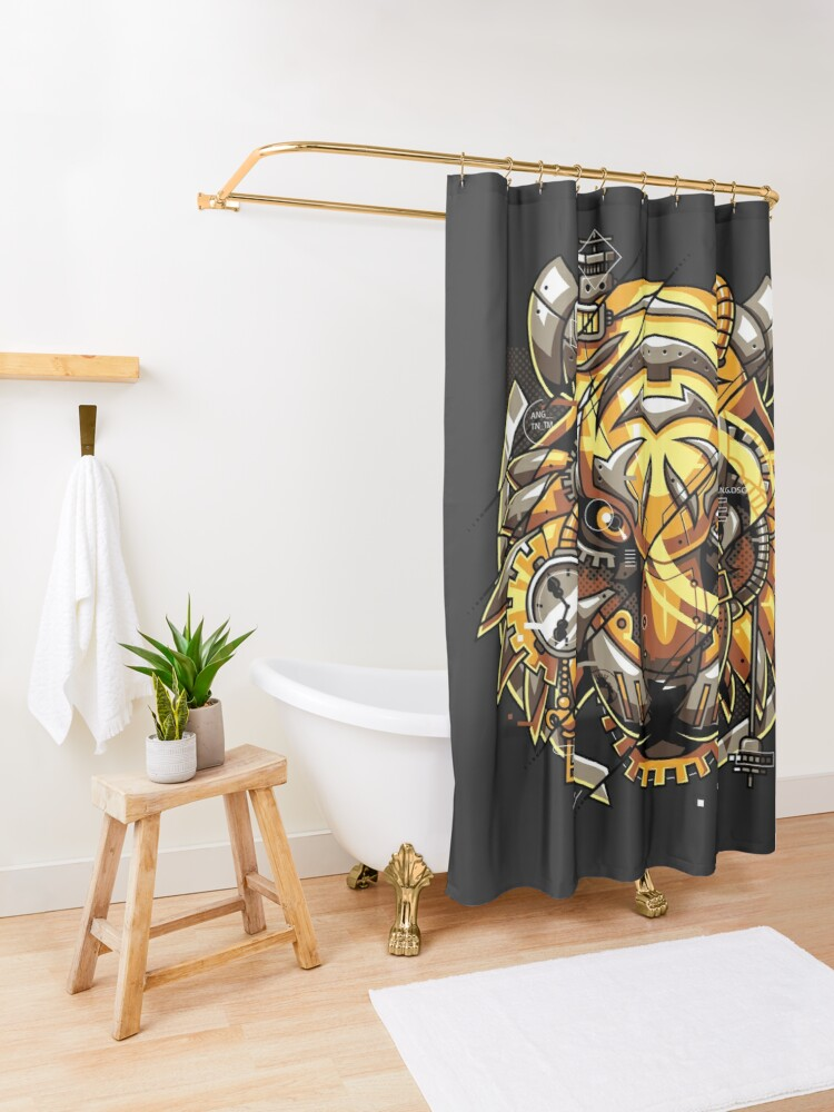 Alternate view of Digitalized Tiger Shower Curtain