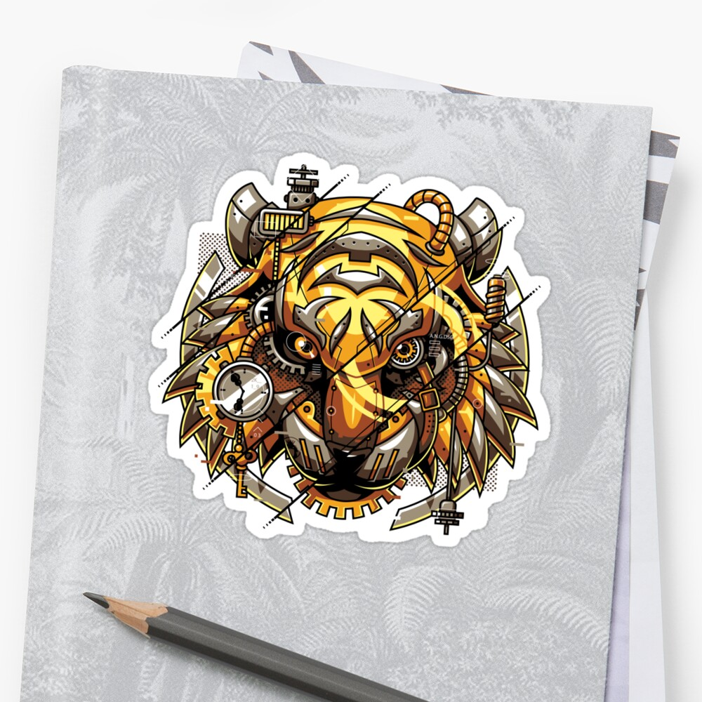 Digitalized Tiger Sticker