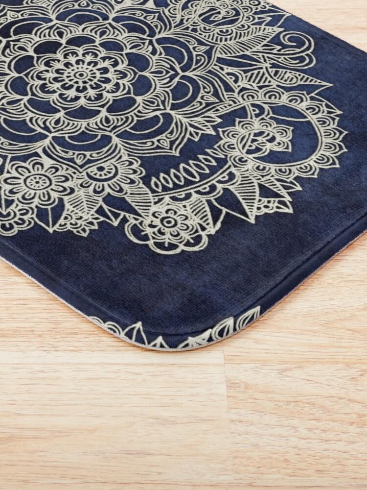 Alternate view of Cream Floral Moroccan Pattern on Deep Indigo Ink Bath Mat