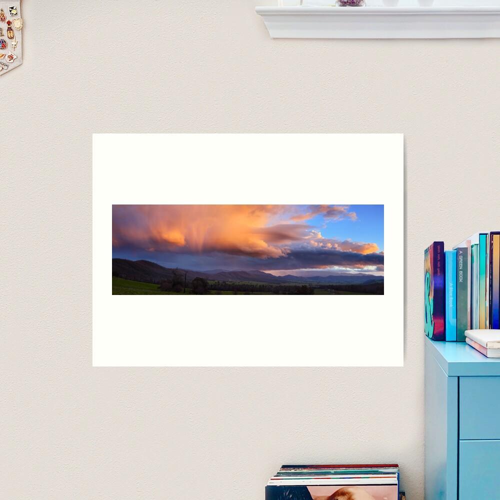 Stormy Sunset over Happy Valley, Myrtleford, Victoria, Australia Art Print
