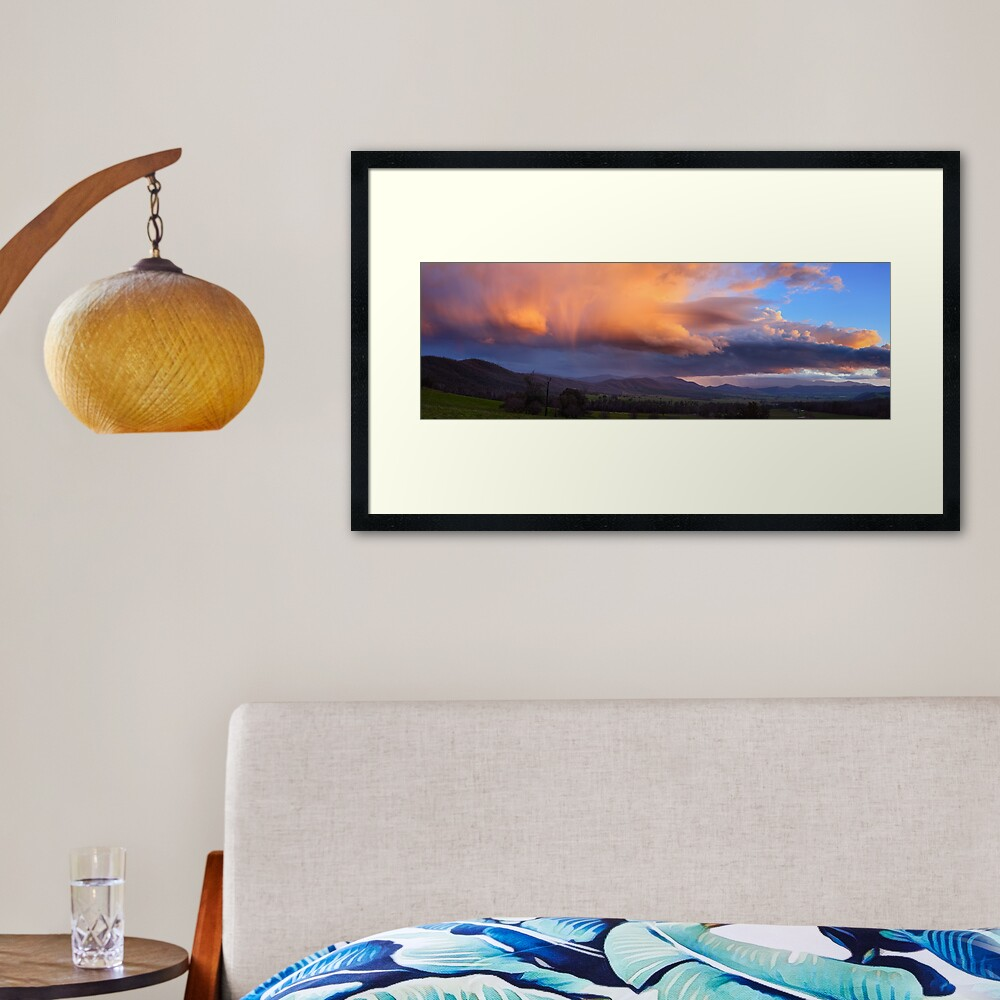 Stormy Sunset over Happy Valley, Myrtleford, Victoria, Australia Framed Art Print