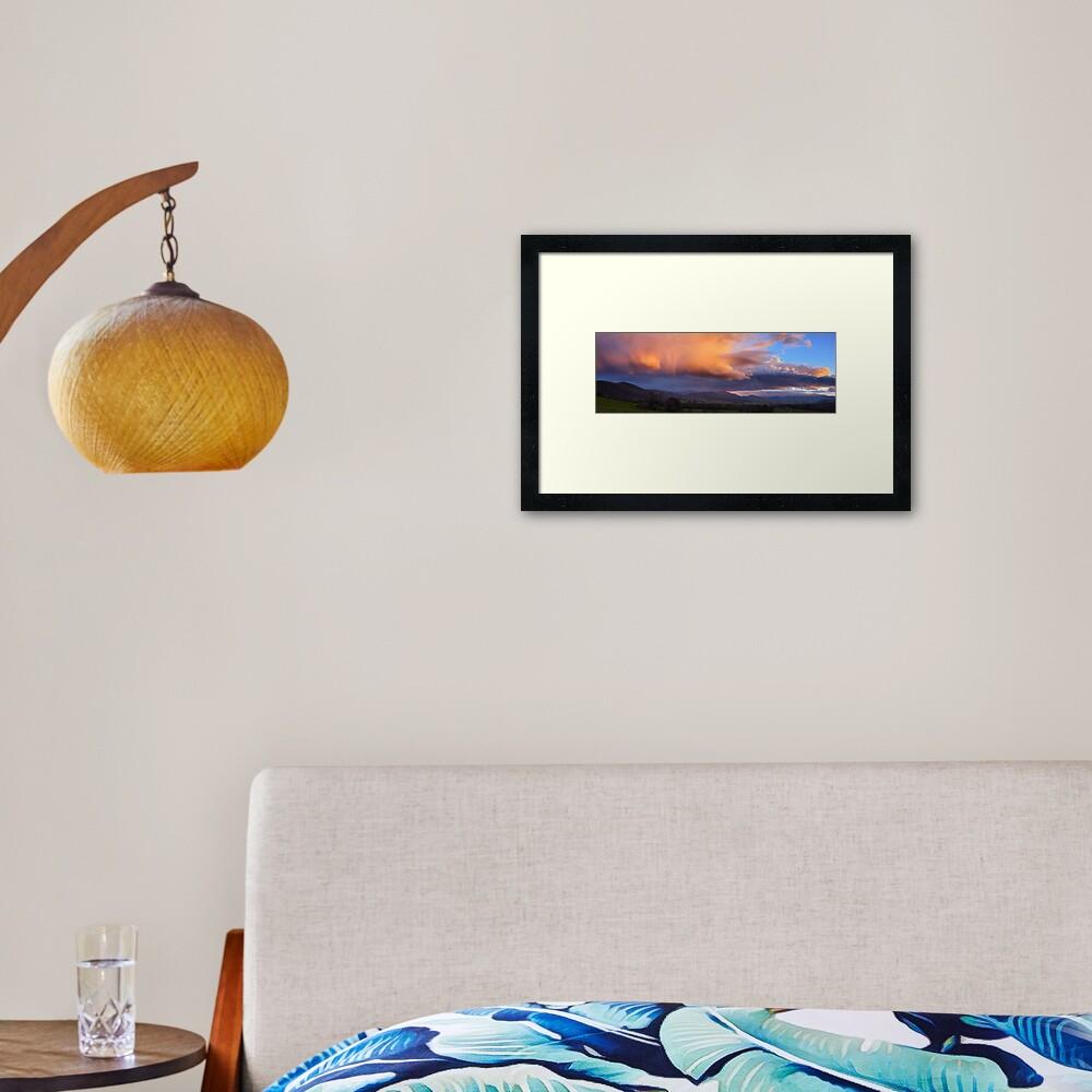 Stormy Sunset over Happy Valley, Myrtleford, Victoria, Australia Framed Art Print