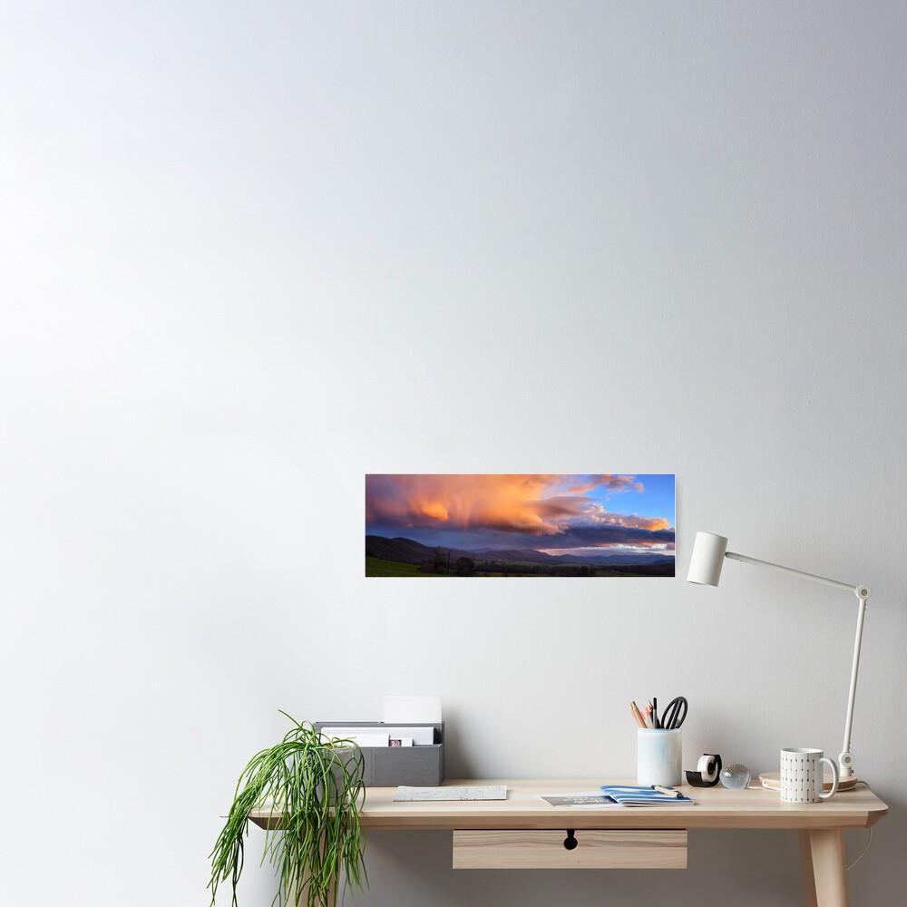 Stormy Sunset over Happy Valley, Myrtleford, Victoria, Australia Poster