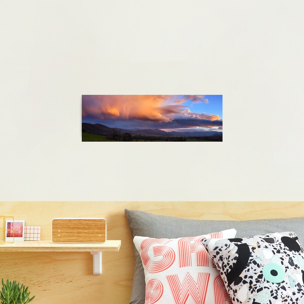 Stormy Sunset over Happy Valley, Myrtleford, Victoria, Australia Photographic Print