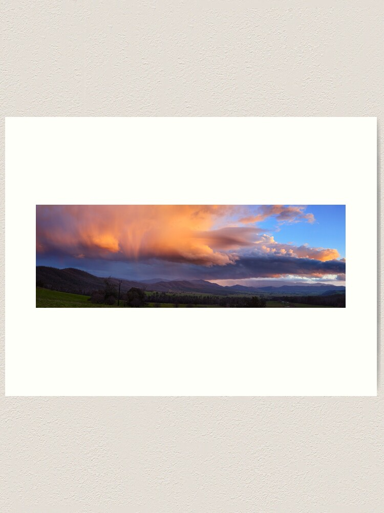 Alternate view of Stormy Sunset over Happy Valley, Myrtleford, Victoria, Australia Art Print