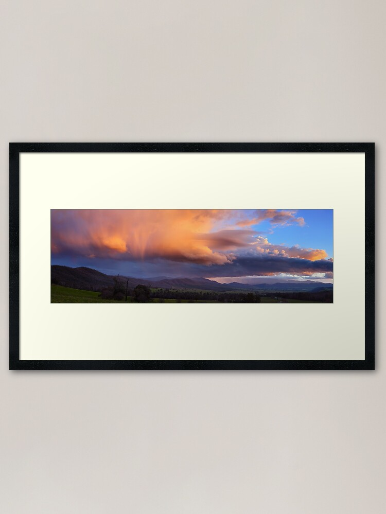 Alternate view of Stormy Sunset over Happy Valley, Myrtleford, Victoria, Australia Framed Art Print