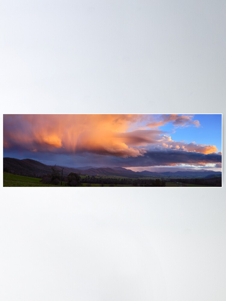 Alternate view of Stormy Sunset over Happy Valley, Myrtleford, Victoria, Australia Poster