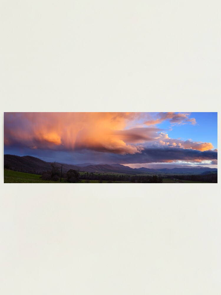 Alternate view of Stormy Sunset over Happy Valley, Myrtleford, Victoria, Australia Photographic Print
