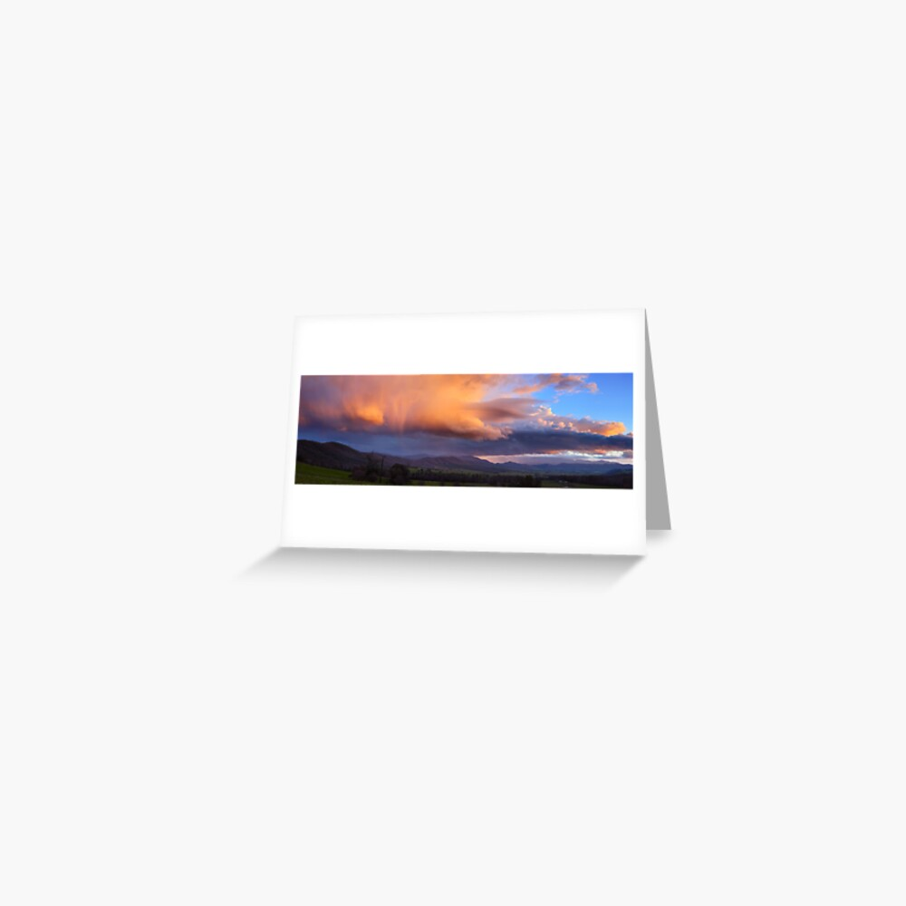 Stormy Sunset over Happy Valley, Myrtleford, Victoria, Australia Greeting Card