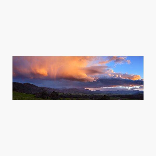 Stormy Sunset over Happy Valley, Myrtleford, Victoria, Australia Photographic Print