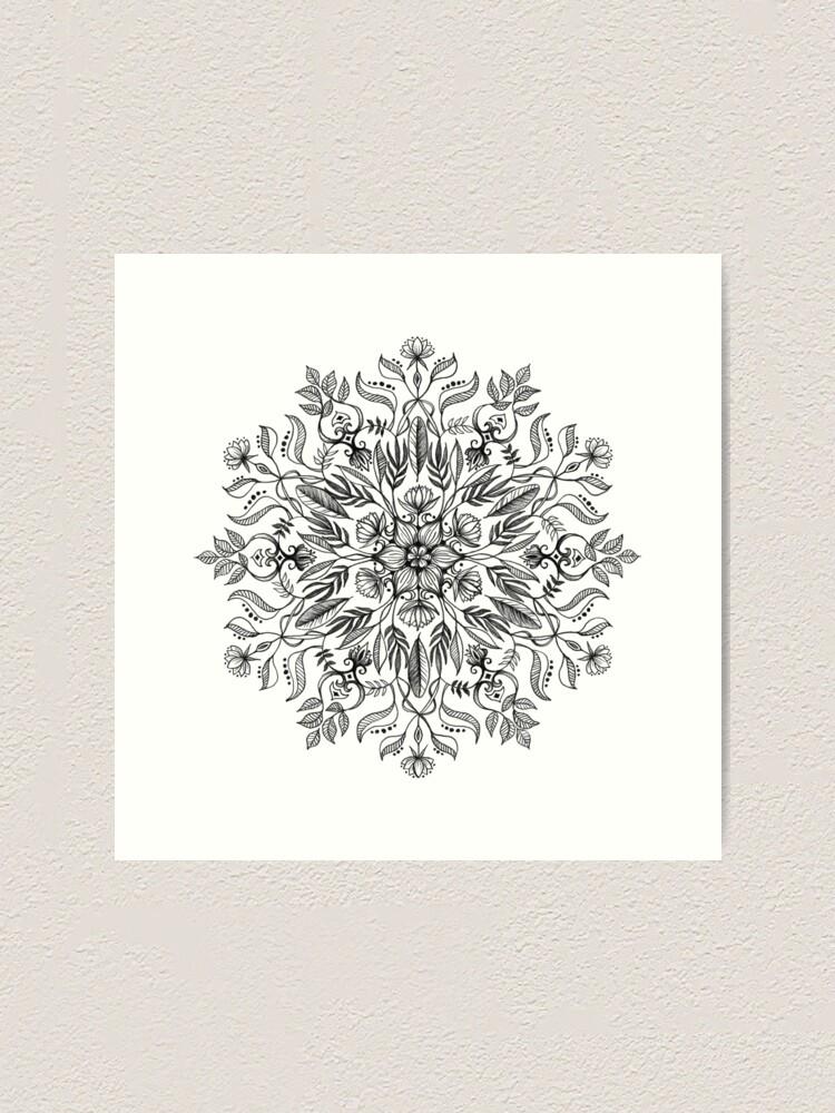 Alternate view of Thrive - Monochrome Mandala Art Print
