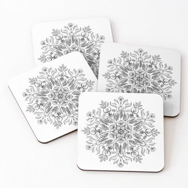 Thrive - Monochrome Mandala Coasters (Set of 4)