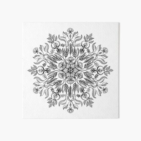 Thrive - Monochrome Mandala Art Board Print