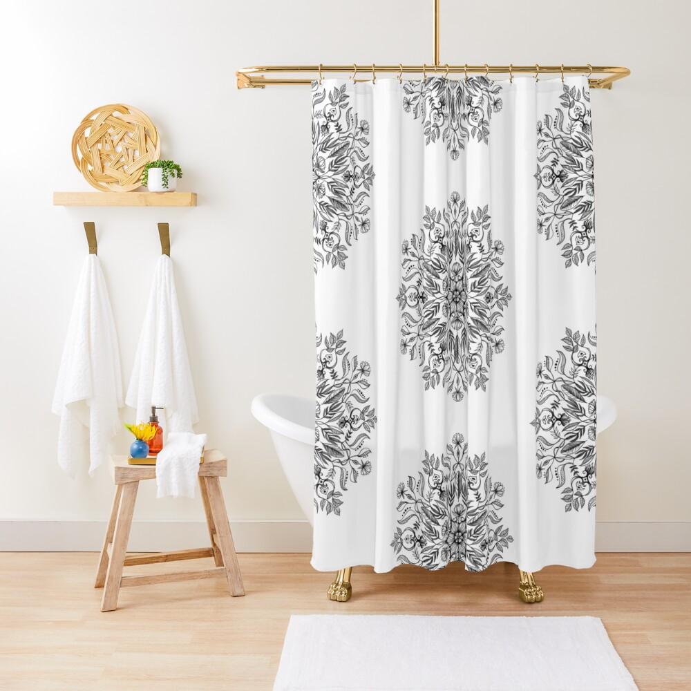 Thrive - Monochrome Mandala Shower Curtain