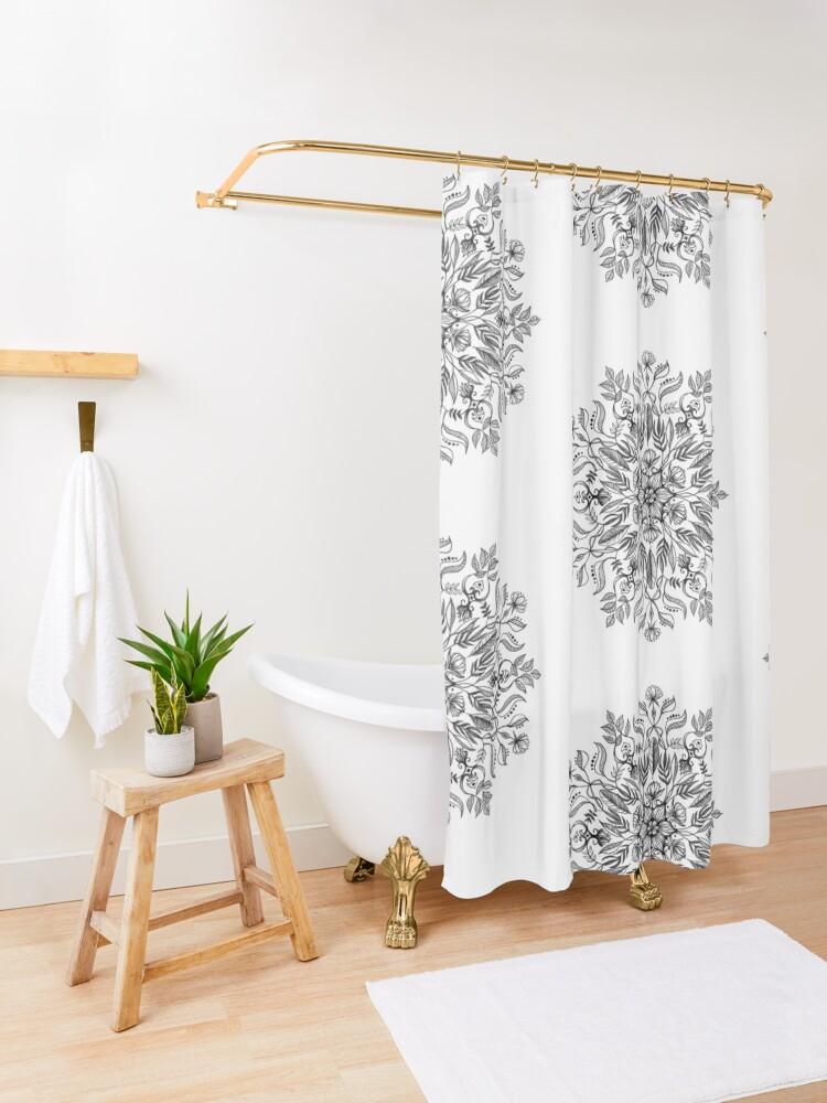 Alternate view of Thrive - Monochrome Mandala Shower Curtain