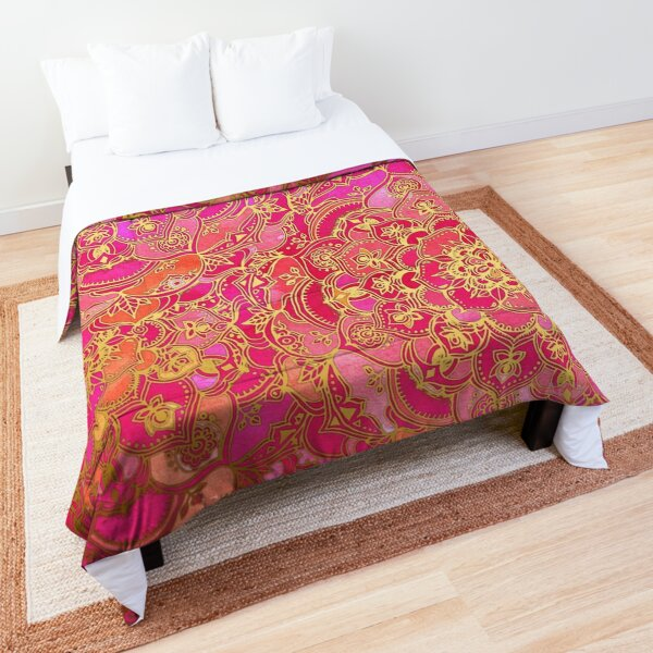 Hot Pink and Gold Baroque Floral Pattern Comforter
