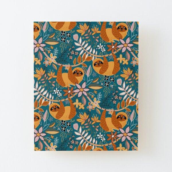 Happy Boho Sloth Floral  Wood Mounted Print