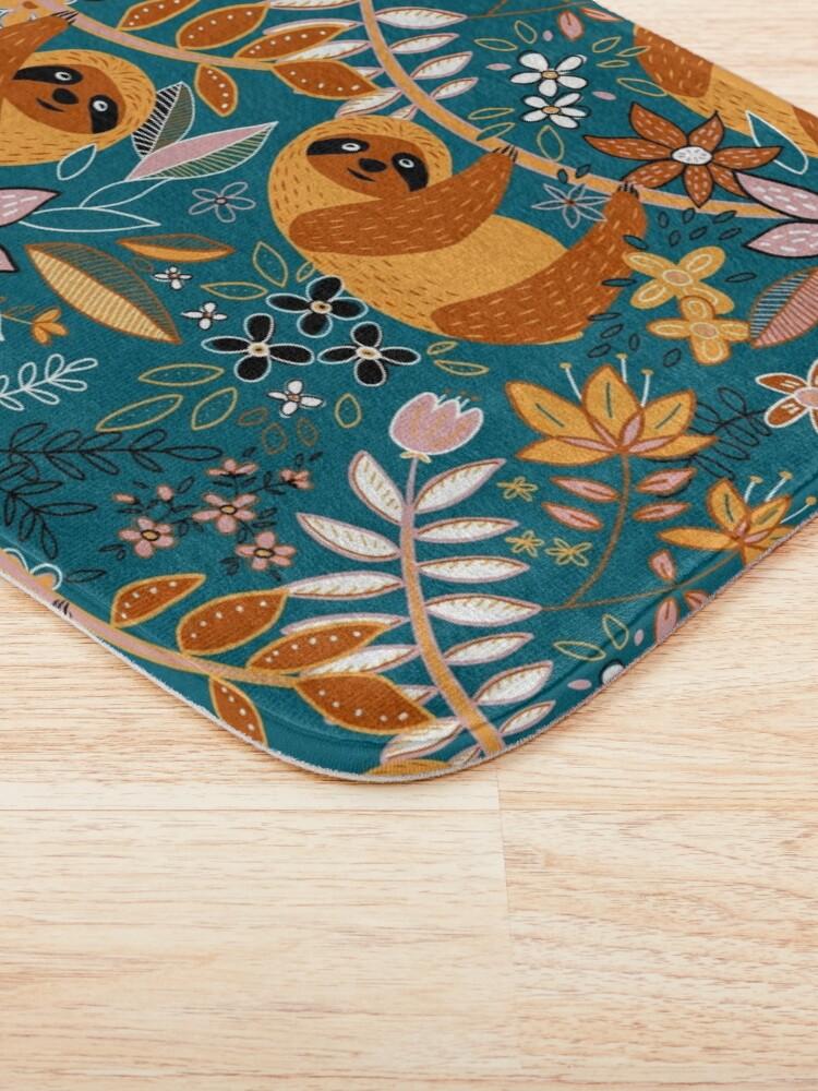 Alternate view of Happy Boho Sloth Floral  Bath Mat