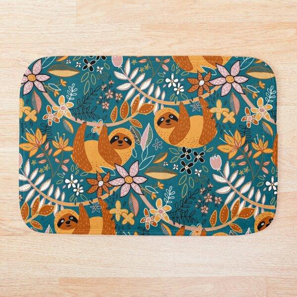 Happy Boho Sloth Floral  Bath Mat
