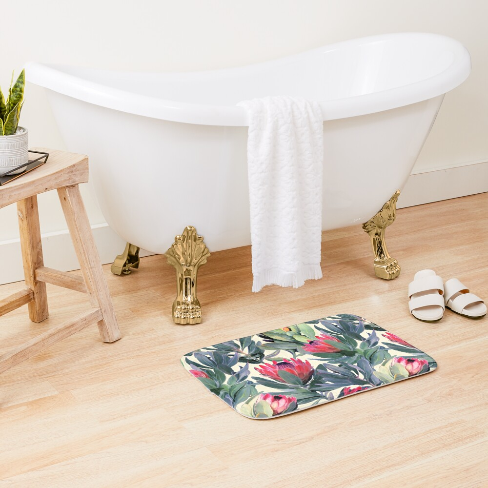 Painted Protea Pattern Bath Mat