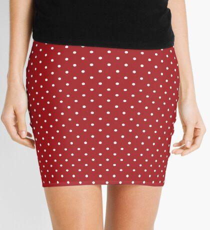 Rojo punteado Minifalda