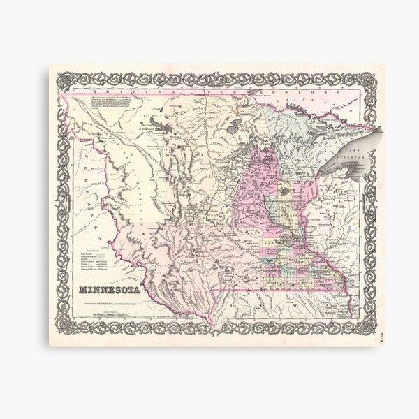 Vintage Map of Minnesota (1855) Canvas Print
