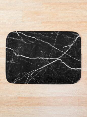 Patrón de textura de piedra de mármol negro Alfombra de baño