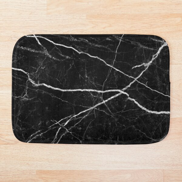 Black Marble Stone Texture Pattern Bath Mat