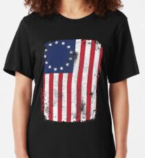 Betsy Ross 13 Star American Flag Funny Patriotic Protesters Vintage Slim Fit T-Shirt