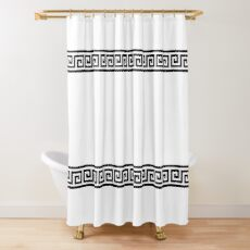 geometric greek pattern black Shower Curtain