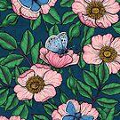 Dog rose and butterflies by Katerina Kirilova