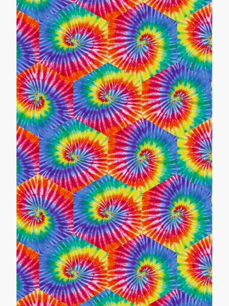 Tie-Dye Hexagon Psychedelic Bohemian Hippie Festival 60's Funky 70's by ImageMonkey