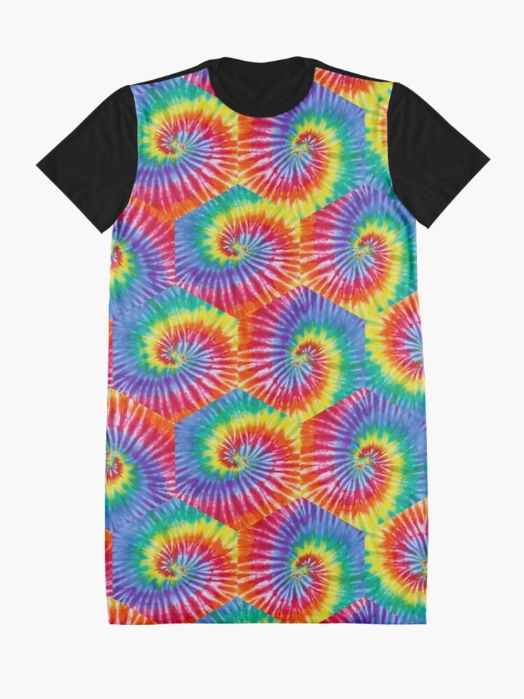 Alternate view of Tie-Dye Hexagon Psychedelic Bohemian Hippie Festival 60's Funky 70's Graphic T-Shirt Dress