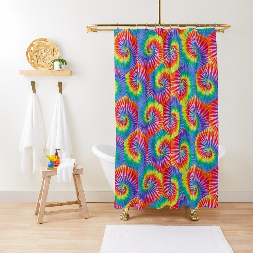 Tie-Dye Hexagon Psychedelic Bohemian Hippie Festival 60's Funky 70's Shower Curtain
