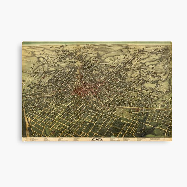 Vintage Atlanta Map Canvas Prints Redbubble
